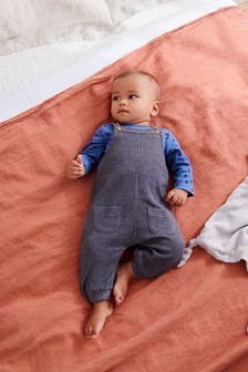 Waffle Dungarees And Bodysuit Set (0mths-3yrs)