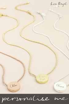 Personalised Gold Chain And Disc Necklace by Lisa Angel