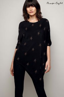 Phase Eight Black Sachi Shimmer Star Knit Jumper