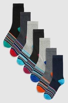 Lot de sept paires de chaussettes à rayures (Garçon)