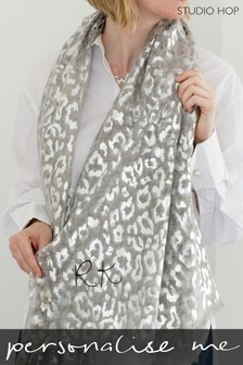 Personalised Leopard With Silver Foil Scarf by Studio Hop