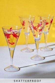 Set of 4 Palm Tree Plastic Wine Glasses