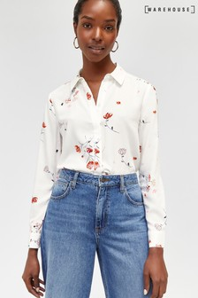 Warehouse Neutral Print Hand Drawn Floral Shirt