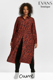 Evans Red Zebra Midi Shirt Dress