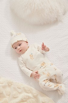 3 Piece Bear Bodysuit, Leggings And Hat Set (0-9mths)
