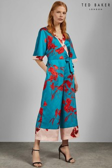 Ted Baker Turquoise Summer Fantasia Wrap Jumpsuit