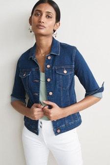 Womens Casual Denim Jacket Blue Button Open Pocket Cropped Linen Blazer S//M 8 10