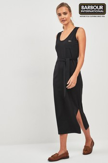 Barbour® International Black Belted Midi Dress