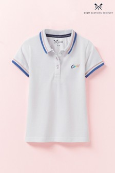 Crew Clothing White Classic Fit Pique Poloshirt