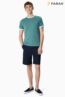 Farah Blue Birtle Cotton Hopsac Shorts