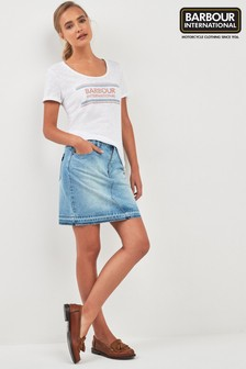 Barbour® International Washed Raw Edge Denim Skirt