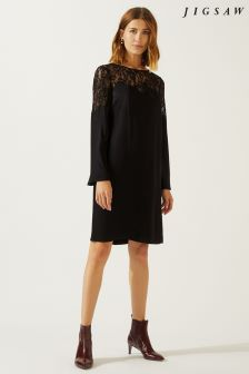 Jigsaw Black Lace Appliqué Shift Dress