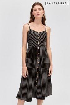 Warehouse Black Stripe Button Through Linen Dress