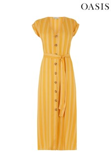Oasis Yellow Stripe Button Midi Dress