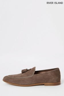 River Island Stone Suede Apron Tassel Loafer