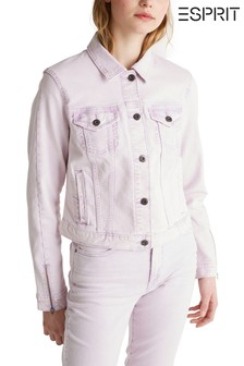 Esprit Purple Denim Jacket With Buttons And Zipper Detail On Sleeves