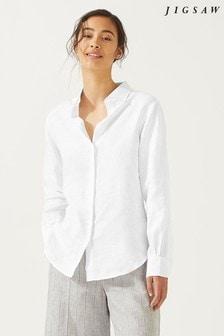 Jigsaw White Classic Linen Shirt