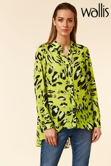 Wallis Green Animal Hi Low Shirt