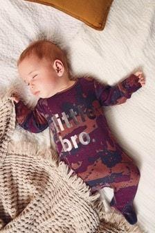Camouflage Little Bro Slogan Sleepsuit (0-18mths)