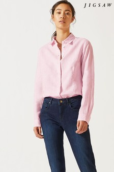 Jigsaw Pink Cross Weave Darted Linen Shirt