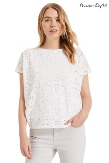 Phase Eight White Paulette Paisley Burnout Top