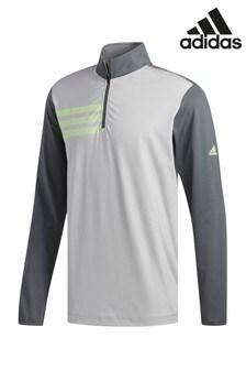adidas Golf Grey 3 Stripe Long Sleeve 1/4 Zip Top