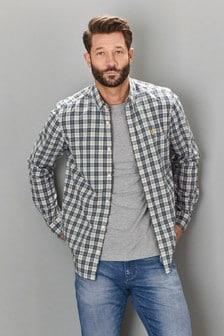 Chemise en popeline de coton à carreaux et à manches longues