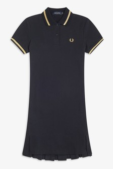 Fred Perry Black Pleated Pique Dress