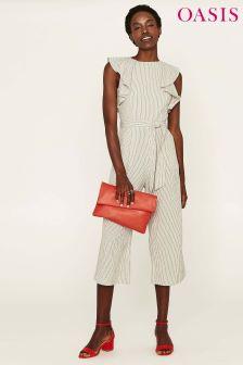 Oasis Natural Pinstripe Ruffle Linen Jumpsuit