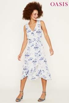 Oasis Natural Paradise Palm Wrap Skater Dress