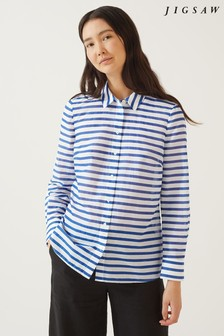 Jigsaw Blue Striped Sheer Shirt
