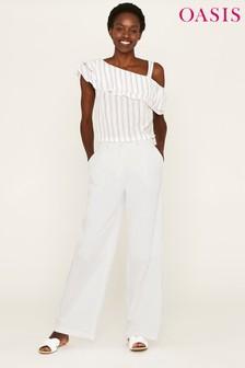 Oasis White Linen Wide Leg Trouser