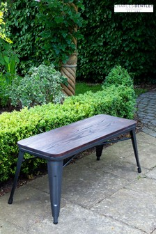 Salvage Steel Bench With Elm Wood Top by Charles Bentley