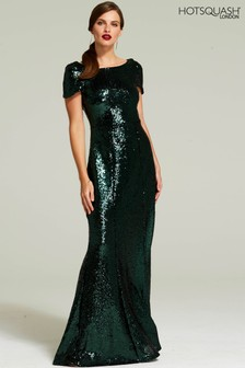 HotSquash Green Cowl Back Sequinned Fishtail Maxi Dress