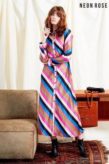 Neon Rose Pink Sienna Stripe Satin Midi Shirt Dress