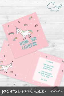 Personalised Magical Unicorn Thank You Single Card by Croft Designs