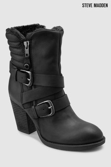 Steve Madden Black Yack Zip And Buckle Detail Boot