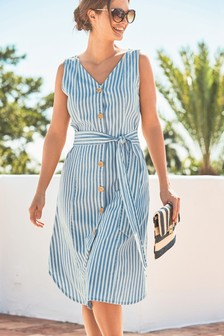 Striped Button Through Dress