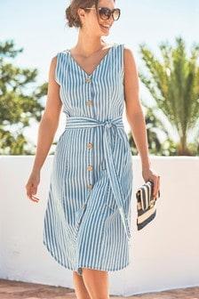 שמלה עם כפתורים ופסים