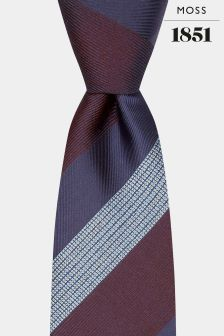 Moss 1851 Navy/Blue/Wine Stripe Silk Tie