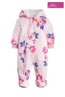 Joules Pink Marl Granny Floral Wadded Pramsuit