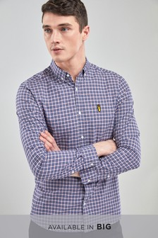 標準款剪裁長袖府綢方格圖案襯衫