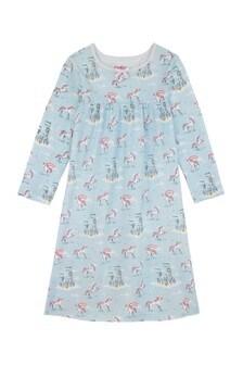 Cămașă de noapte pentru fete cu model unicorn și curcubeu Cath Kidston® albastră