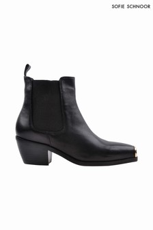 Sofie Schnoor Black Leather Toe Cap Western Boots