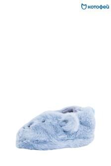Голубые пушистые тапочки Kotofey