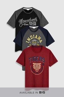 Набор цветных футболок с надписями (3 шт.)