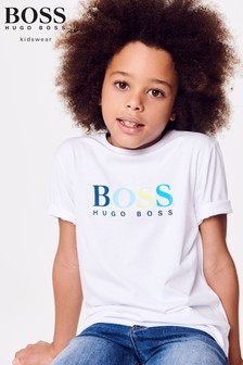 BOSS White Colour Logo Tee