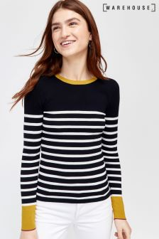 Warehouse Blue Breton Block Stripe Jumper
