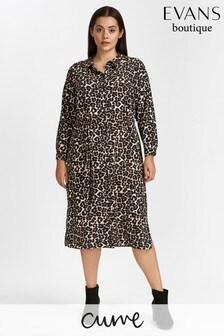 Evans Natural Leopard Midi Shirt Dress