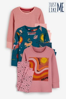 3 Pack Follow Your Dreams Character Pyjamas (9mths-8yrs)